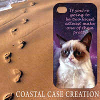 Apple iPhone 4 4G 4S 5G Hard Plastic Cell Phone Case Cover Trendy Funny Galaxy Stylish Grumpy Cat Quote Design