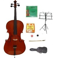 Merano MC400 4/4 Size Hand Made Solid Wood Ebony Fitted Cello with Bag and Bow,2 Sets of Strings,Black Music Stand,Metro Tuner,Rubber Mute,Rosin