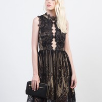 Lacey Mock Neck Party Dress