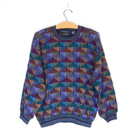 80s 90s Geometric Men's Oversized Long Sleeve Top - Small - Colorful Vintage Jewel Tone Triangle Baggy Hipster Crew Neck Tee / Sweater