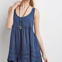 Embroidered-Trim Babydoll Dress