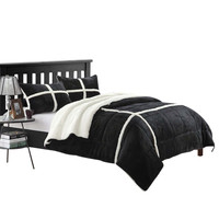 Chic Camille Mink Chloe Sherpa Lined 2 Piece Comforter Set Twin XL Black