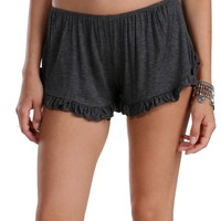 Sale-gray Cheeky Ruffle Hem Shorts