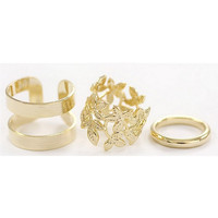 Gold/Silver Plated Vintage Knuckle Ring Set Gift 3PCS Fashion Jewelry Stylish Wedding For Girl Women