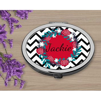 Personalized Compacts | Custom Compacts | Makeup & Cosmetics | Black Chevron