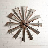 """Rustic Farm Country Style 32"""" Windmill Wall Clock Hanging Decorative Sculpture Decor"""