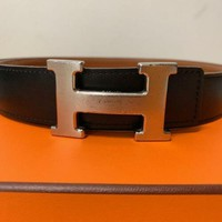 Hermes Constance H Belt Silver Backle Reversible Used 27.5inch Used