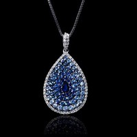 .36ct Diamond and Blue Sapphire 18k White Gold and Black Rhodium Pendant