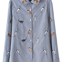 ROMWE Asymmetric Cat Embroidered Check Blue Shirt