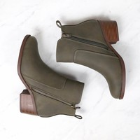 Kelly Faux Leather Zipper Ankle Booties in Khaki