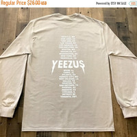 BLACK FRIDAY SALE Yeezus Tour Sand Long Sleeve Tee Shirt Kanye West Yeezy Tlop