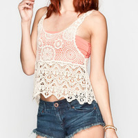 Others Follow Womens Crochet Crop Tank Natural  In Sizes