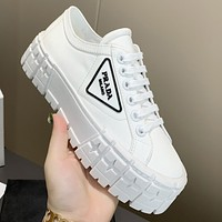PRADA New Canvas Embroidered Letters Ladies Platform Casual Shoes-3