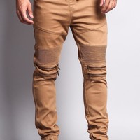 Zipper Knee Biker Twill Jogger Pants