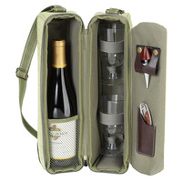 Wine Carrier Set w/ Glasses for 2, Olive, Acrylic / Lucite, Coolers & Thermal Bags
