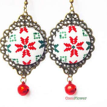 Christmas Snowflake earrings red green fabric jewelry