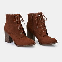 Faux Suede Lace-Up Heeled Booties | Wet Seal