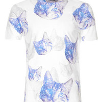 WHITE COSMIC CAT PRINT T-SHIRT