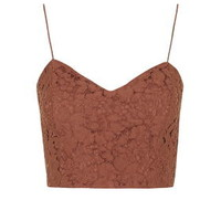 Sweetheart Neck Lace Bralet - Rust