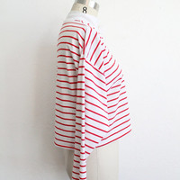 Vintage 80s Red White Striped Cropped Henley Tshirt // Long Sleeve Top
