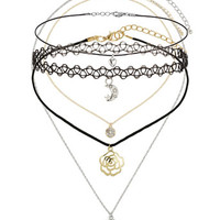 Moon And Flower Choker Pack - Accessories