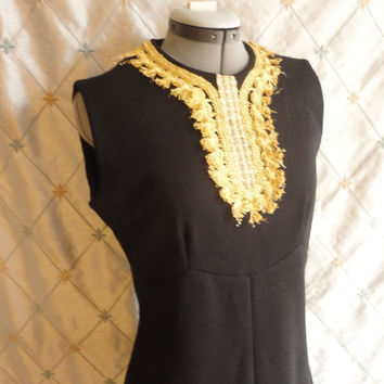 ON SALE 60s Dress // Vintage 1960s Black Wool Dress with Gold Adornment Size L  still has store tag