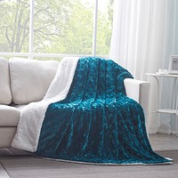DaDa Bedding Mermaid Scales Emerald Green Blue Faux Fur w/ Sherpa Backside Fleece Throw Blanket (BL-171805)