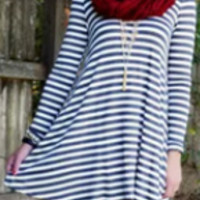 Striped Cut Out Back Dress