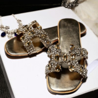 Hermes Summer New H Letter Big Diamond Home Sexy Sandals Gold