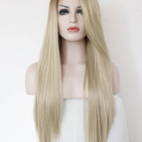 Fashion Ombre Blonde Glueless Lace Front Wig 2 Tone Color Brown Roots Side Part Long Natural Straight Heat Resistant Synthetic Hair Replacement Wig