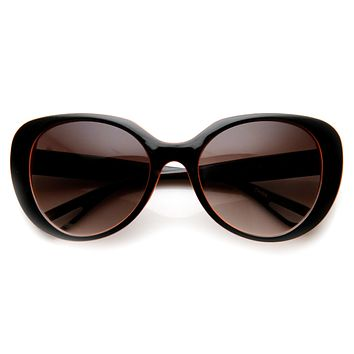 Womens Oversize Two Tone Cat Eye Sunglasses 9352