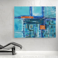 """abstract wall art Large Painting """"Abstract 6"""" Modern Acrylic on canvas teal turquoise KSAVERA decor for Lounge office sleeping room bedroom"""