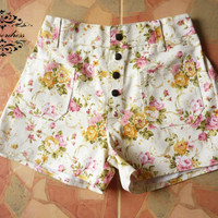 """Vintage Girl's Shorts...Floral Shorts Inspired Shabby Chic -Sweet Girl White with Pink Yellow Floral- -Size S-M- 12""""SHORT LENGTH"""