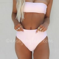 Catching Rays Light Pink High Waisted Bikini Bottom