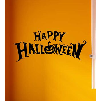 Happy Halloween V2 Wall Decal Home Decor Vinyl Art Sticker Holiday October Trick or Treat Pumpkin Witch Ghost Scary Kids Boy Girl Family