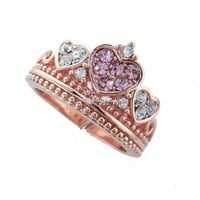 Rose Gold Triple Heart Crystal Crown Ring - Light Pink