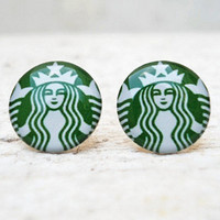 Starbucks Coffee Earrings in Green White Ear Studs Posts by Jugosa