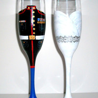 Hand Painted Bride and Groom Champagne Flutes Set of two 6 oz Toasting Flutes Wedding Dress and Marine Army Navy Airforce Military Uniform