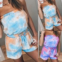 2020 New Products Women's Tie-Dye Printed Wrapped Chest Two-piece Shorts