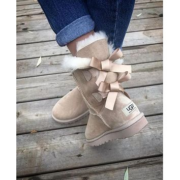 UGG Fashion Winter Women Man Cute Bowknot Flat Warm Snow Ankle Boots Shoes-3