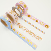 The Lovely Collection - Mystic moon, pink and periwinkle blue stripe, birds and blooms and donut gold foil and rose gold foil washi tape set
