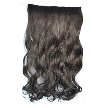 5 Cards Hair Extension Wig Long Curled Hair black brown
