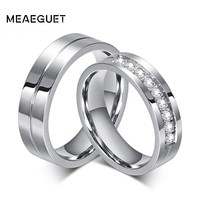 Meaeguet Classic Silver Color Lover's Wedding Rings 316L Stainless Steel CZ Ring Jewelry Engagement Wedding Bands