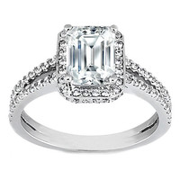 Engagement Ring - Emerald Cut Diamond Split Band Halo Engagement Setting in 14K White Gold 0.70 ct. - ES771EC