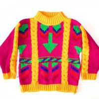 """Look Down"" Vintage 80s Bright Tacky Ugly Sweater Women's Size Small (S)"