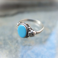 Tibetan Ring, Sterling Silver, Tibetan Turquoise, Blue Turquoise, Tribal Ring, Ethnic Jewelry, Little Tibet, Boho Ring, Flower Ring, Blue