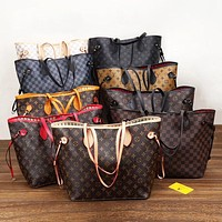 LV Louis Vuitton classic printed letters and color matching two-piece shopping bag shoulder bag messenger bag two bag