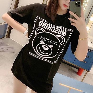 """ Moschino"" Woman Casual Fashion Letter Solid Color Bear Printing Loose Large Size Short Sleeve T-Shirt Tops"