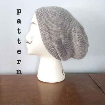 PATTERN Knitted Slouchy Beanie Pattern - Mens Beanie Pattern - Womens Beanie Pattern - Slouch Hat Pattern - Knitting Pattern - Easy Knit Hat