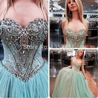 Fashionable Ball Gown Prom Dress Sexy Sequined and Beaded Graduation Dresses vestido longo festa 2015